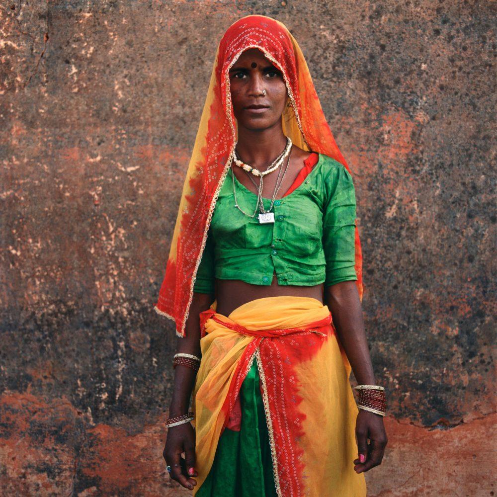 Woman at Wall, Rajasthan, India