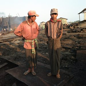 Workers at the Chittagong ship breaking yards
